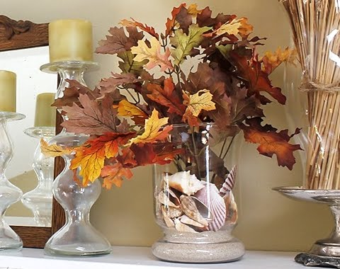 decorating idea for Fall with leaves in a vase