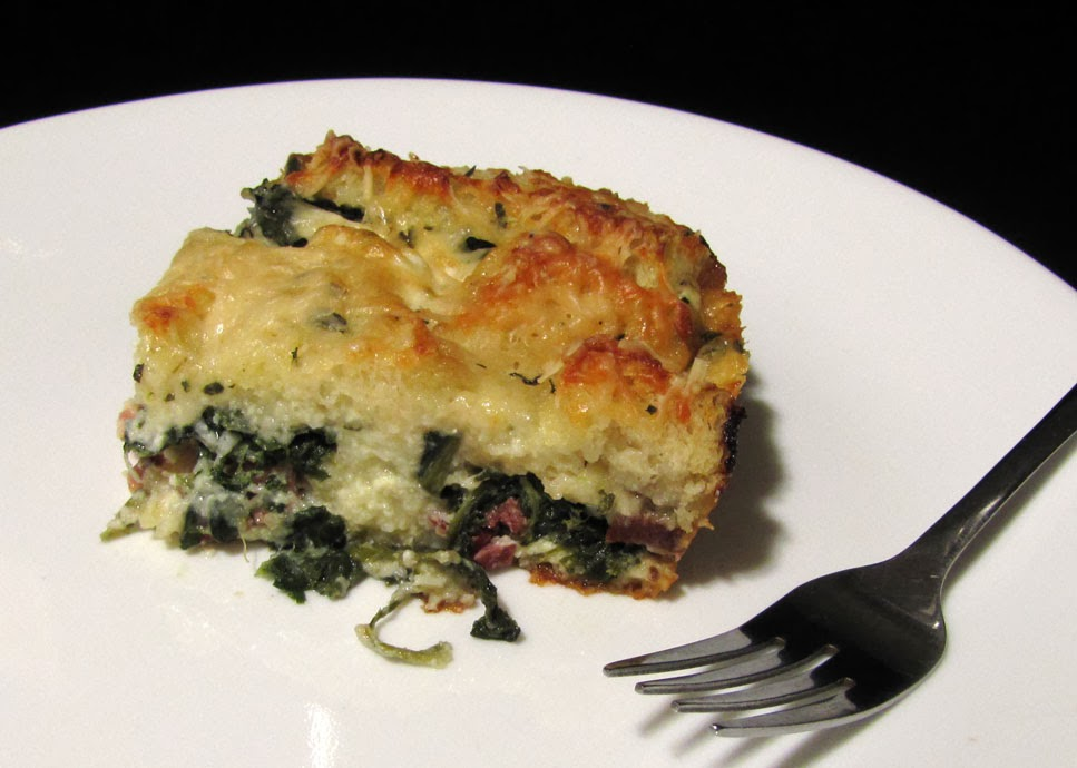 Smells Like Food in Here: Ham, Goat Cheese and Spinach Strata