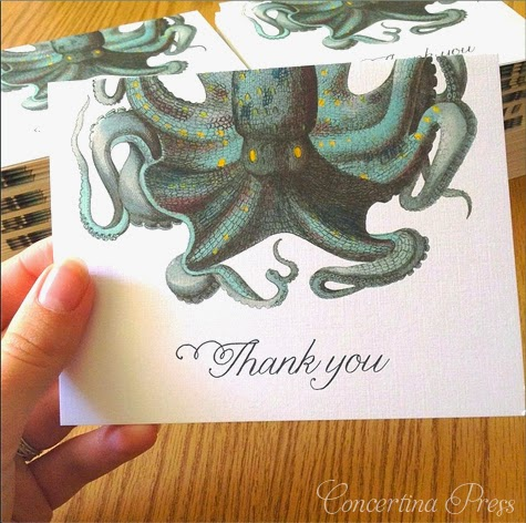 Octopus thank you notes by Concertina Press