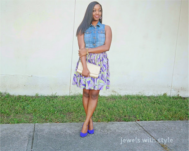 do my shoes have to match my purse, should my shoes and belt match, should all my accessories match, do shoes and purse have to match, jewels with style, purple heels, jean vest as a shirt, black fashion blogger, gold clutch purse, purple print skirt