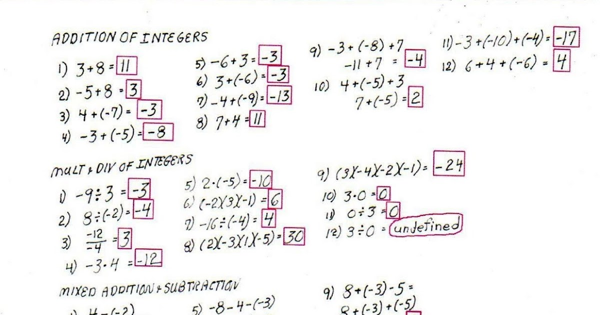integer order of operations worksheet pdf