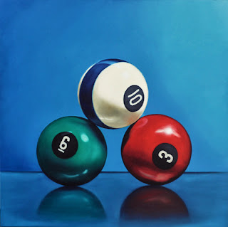 billiard balls, pool balls realistic oil painting realism by jeanne vadeboncoeur