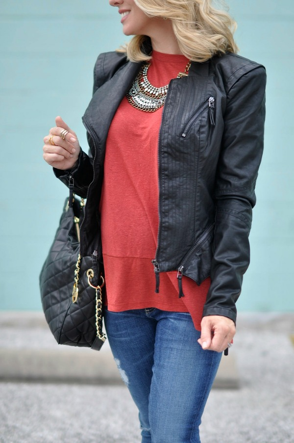 Faux leather jacket, top and Michael Kors bag.