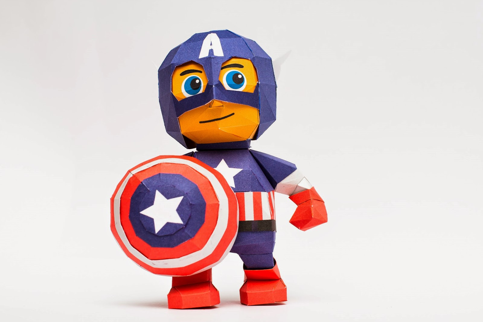Chibi Captain America Papercraft Model Toy