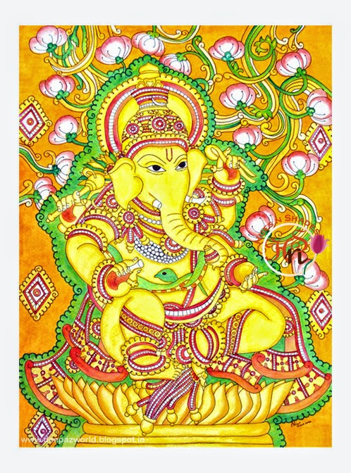 Hues n shades 5 simple drawings of ganesha for ganesh for Mural art of ganesha