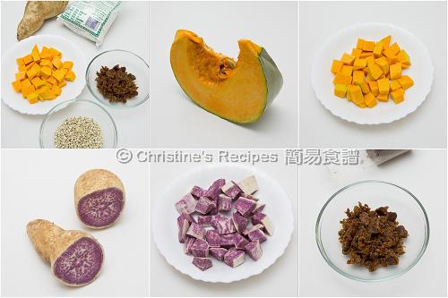 南瓜湯圓配紫薯材料 Ingredients of Pumpkin Glutinous Dumplings