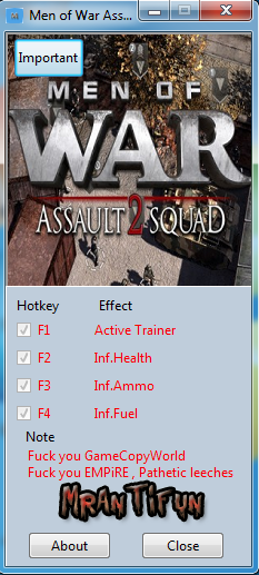 Men of War Assault Squad 2 V3.025.1b Trainer +3 MrAntiFun