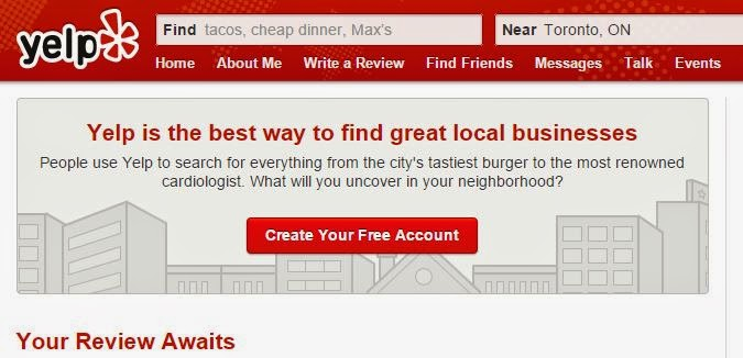 "Yelp registration page ""Your Review Awaits"""