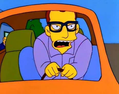 big man in small car, simpsons