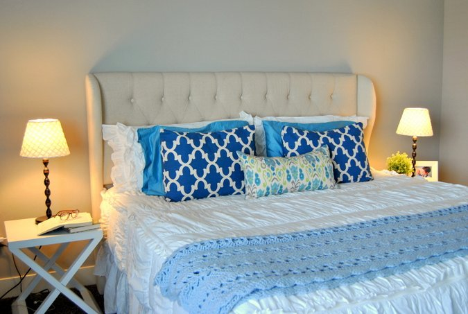 cream tufted upholstered headboard