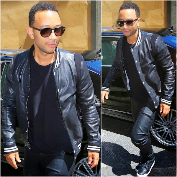 John Legend's Band Of Outsiders leather varsity jacket - Florence Street Style