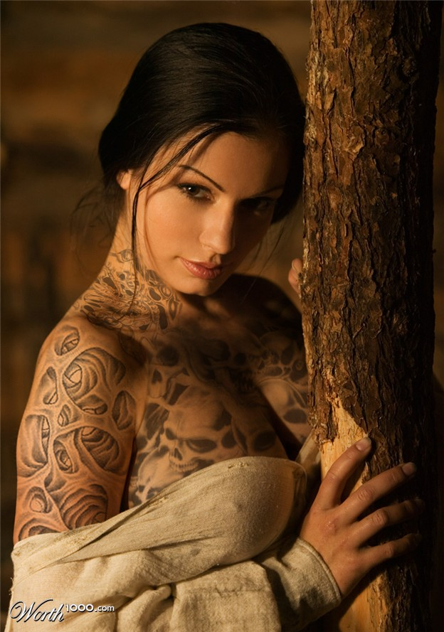 Sexy Fully Body Tattoos on a Hot Brunette