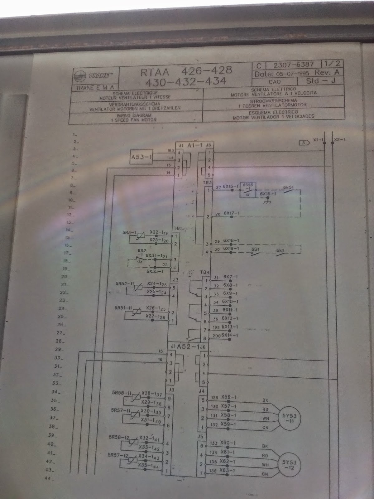 Trane chiller air cooled control wiring diagram RTAA Series