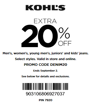 Kohls coupon 20% off JEANS for family