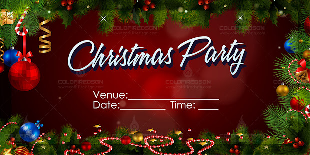 Christmas Party Tarpaulin PSD Template Red