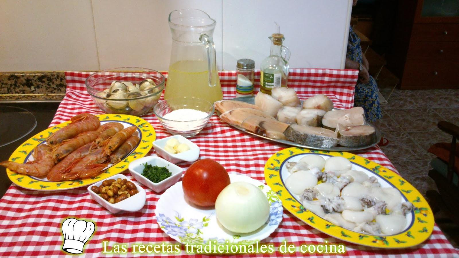 ingredientes de zarzuela de pescado y marisco