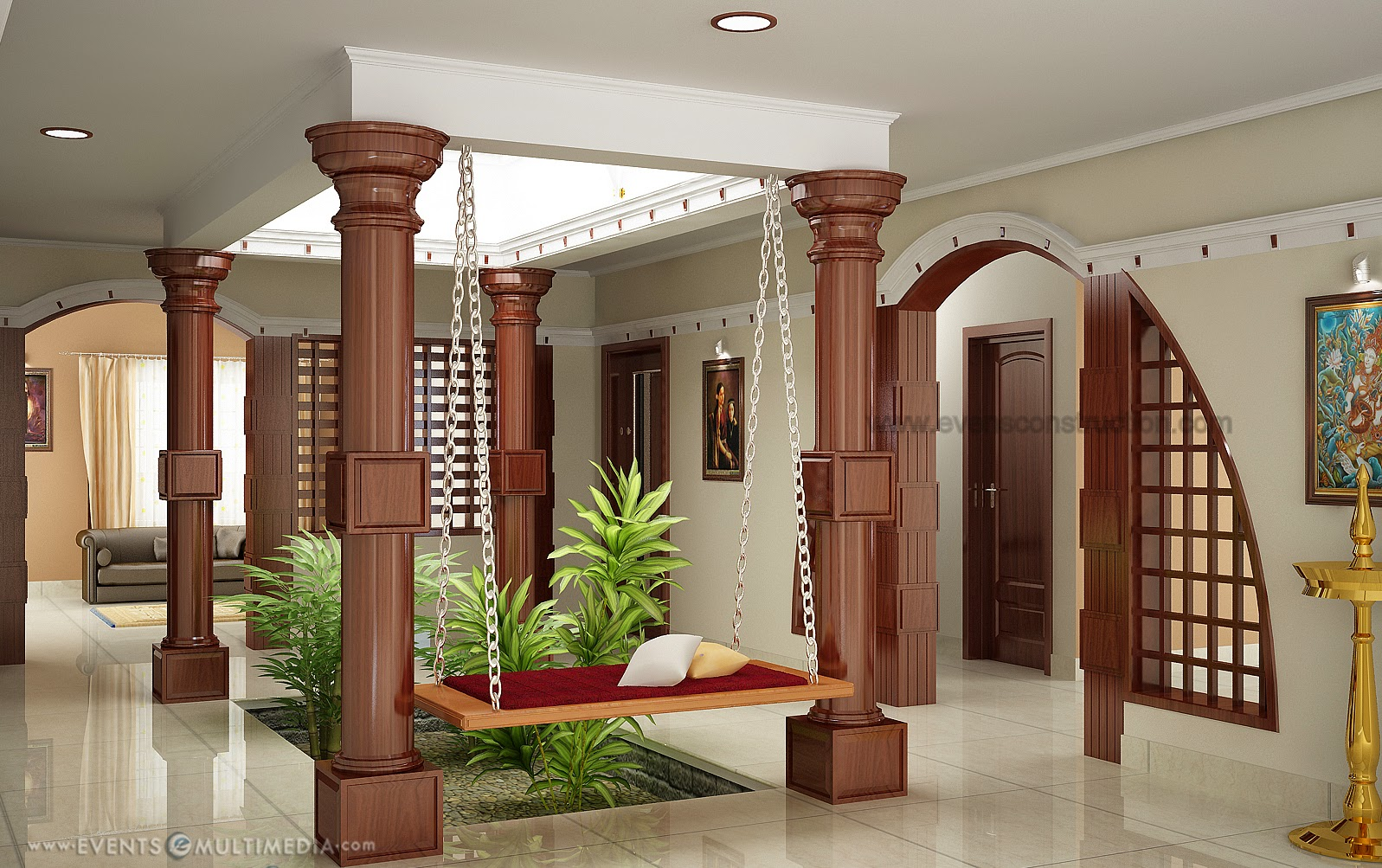 Evens construction pvt ltd courtyard for kerala house for Different interior designs of houses
