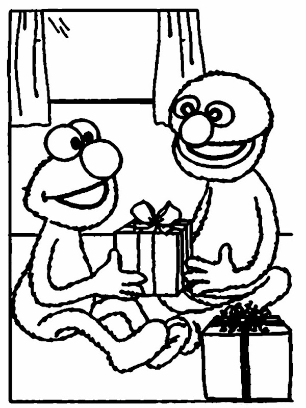 Elmo Give On The Christmas Coloring Pages Printable title=