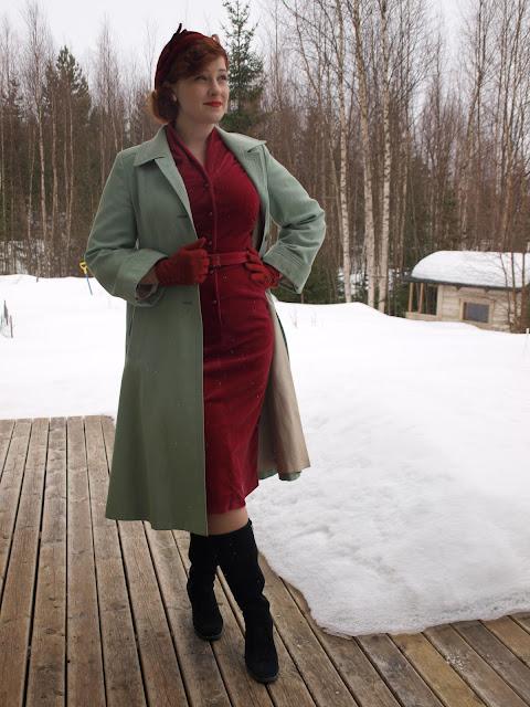 50's vintage hat, velvet dress, mother of pearl earrings