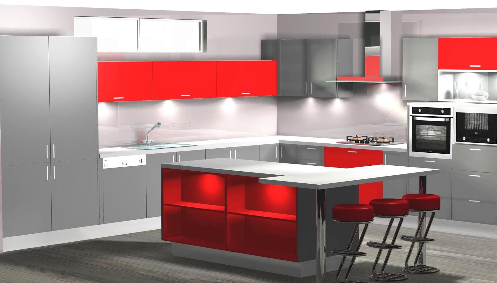 Dise o de cocina en gris y rojo en l y con isla for Aplicacion diseno cocinas