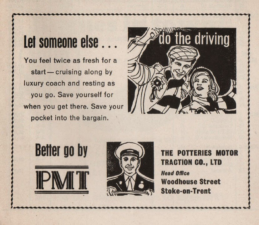 Vintage advertisement for the Potteries Motor Traction Co., Ltd.,  from Stoke City football programme, c.1969