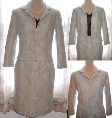 Vintage Jacket and Skirt Set Suit Women's Formal Secretary Dress
