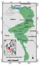 Figure 2.1: Map showing the location of the Meuse basin. Bron: Adaptation to Meuse flood risk. Pag. 18