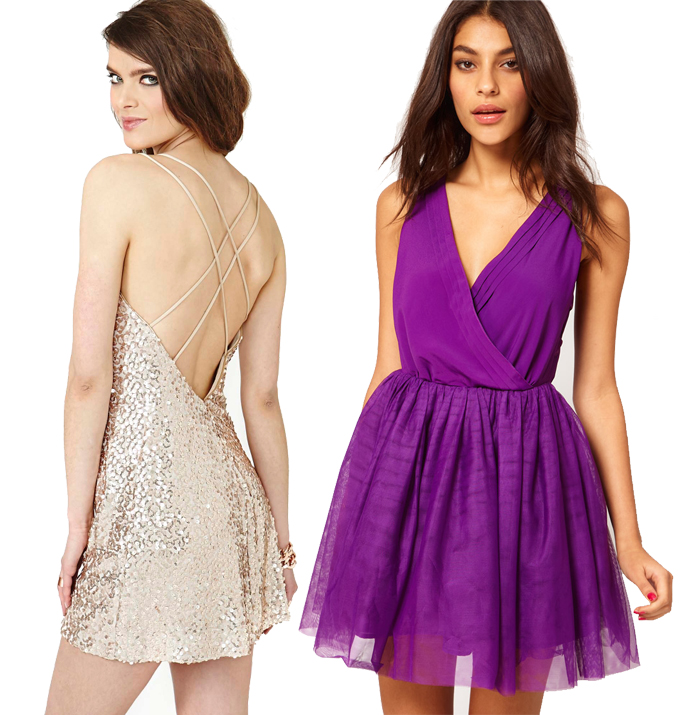 Nasty gal sequins party dress and Asos purple party dress