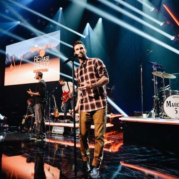 Adam Levine wears Saint Laurent by Hedi Slimane plaid checked shirt at iHeartRadio Album Release Party August 2014