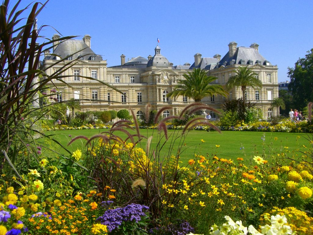 an image of this palace through some flowers - Le Jardin Du Luxembourg