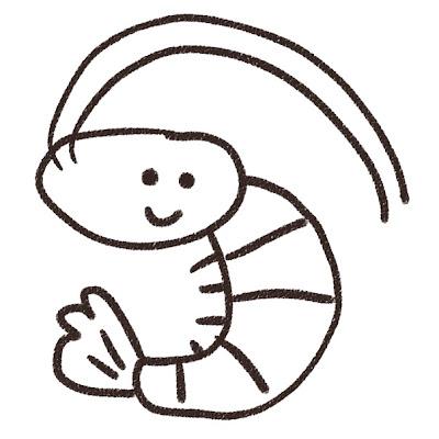海老のイラスト(魚) モノクロ線画