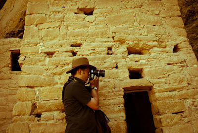 Jeremy Wade Shockley photographing the cliff dwellings at Mesa Verde National Park.
