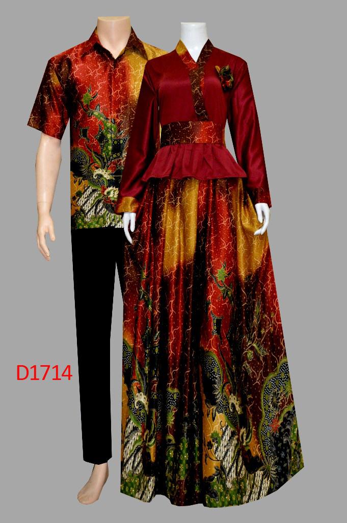 Model Baju Batik Gamis Semi Sutra D1714