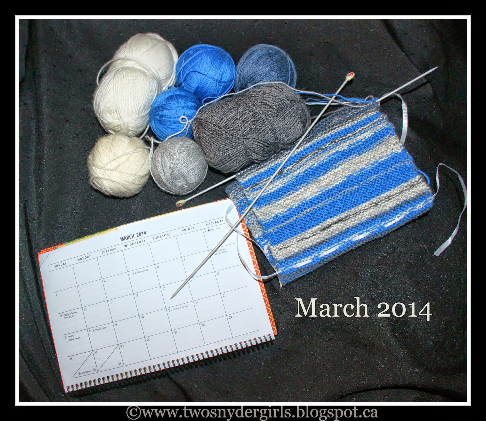 March 2014 sky reflected through knitting