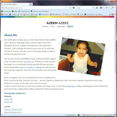 Screen shot of http://azeemazeez.com/about/.