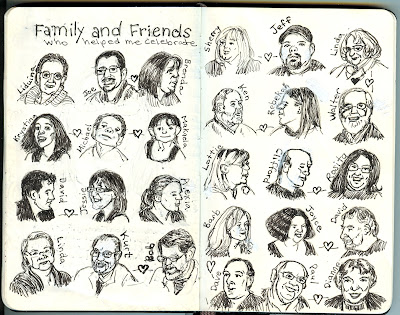 Portrait cartoons of the people who attended Ana's 50th birthday celebration. Drawings by by © Ana Tirolese