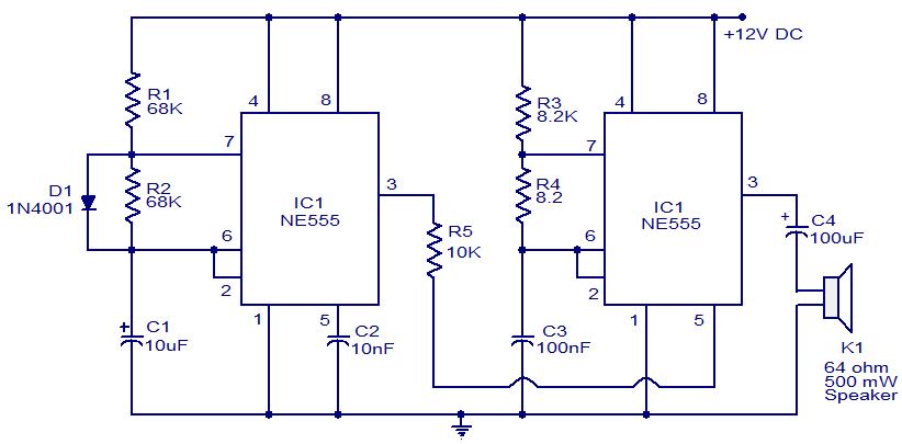 Police siren circuit using ic 555 gadgetronicx