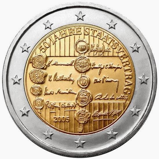 2 euro coins Austria 2005 Austrian State Treaty