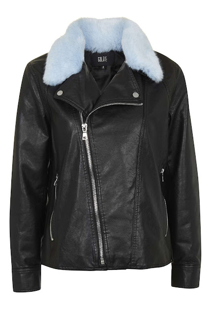 leather jacket blue furry collar, goldie fur collar jacket,