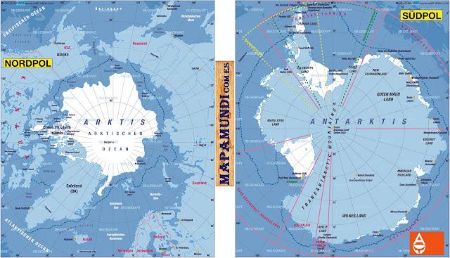 Mapamundi Mapa del Polo Norte y Polo Sur Antartida