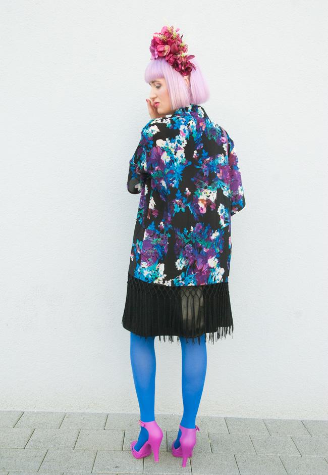 Quiz Clothing, flower print kimono, street style