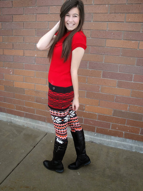 ami clubwear, amiclubwear, red tunic, festive, tunic, festive colors, boots, cute, riding boots, ourworldboutique, our world boutique, leggings,