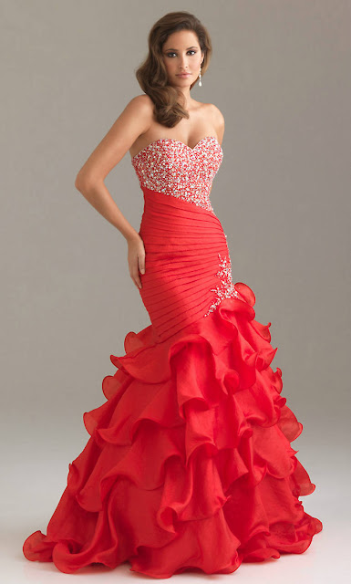 ruffled skirt sequin ruched long strapless sweetheart v neck red prom dress pictures