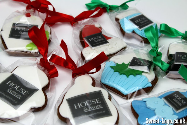 Christmas cookies with edible logo