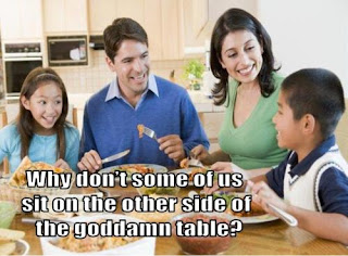 why dont some of us sit on the other side of the table