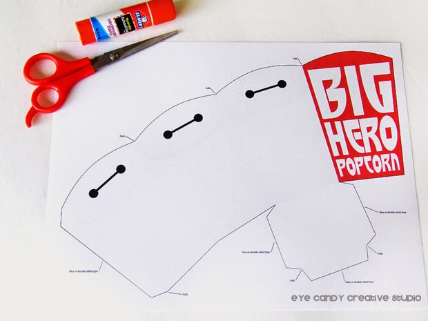 how to make Baymax popcorn boxes, free download, disney, movie night idea