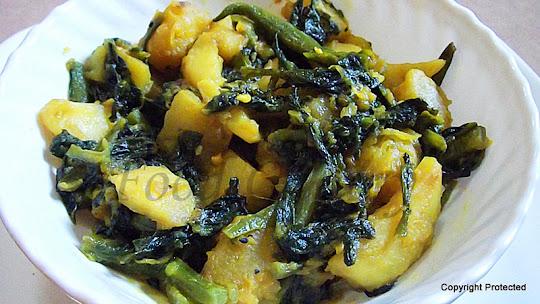 pui saag er chorchor, basella curry