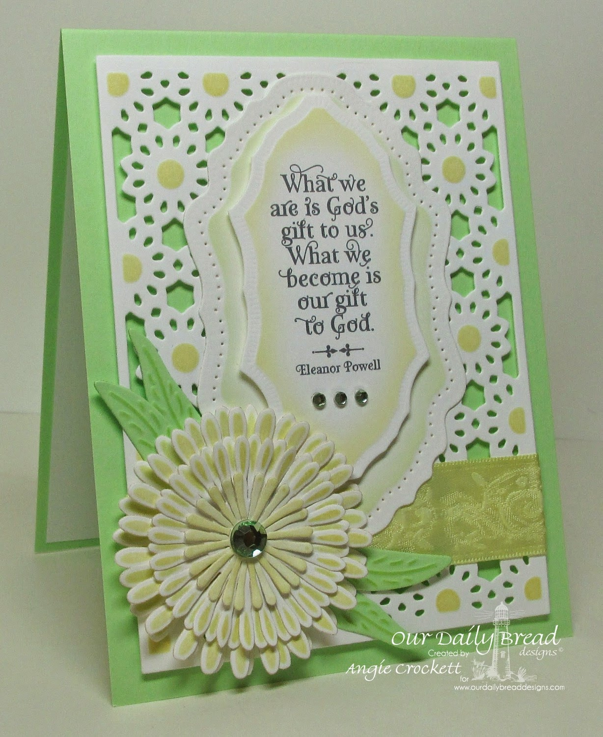 ODBD God Quotes, ODBD Custom Asters and Leaves Dies, ODBD Daisy Chain Die, ODBD Custom Flourish Pattern Dies, Card Designer Angie Crockett