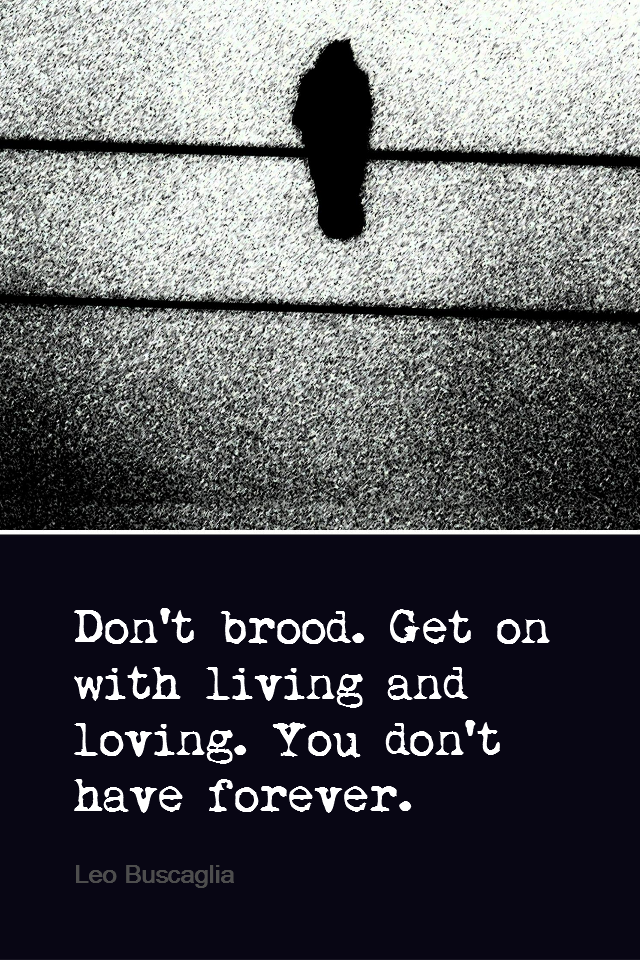 visual quote - image quotation for EMOTIONS - Don't brood. Get on with living and loving. You don't have forever. - Leo Buscaglia