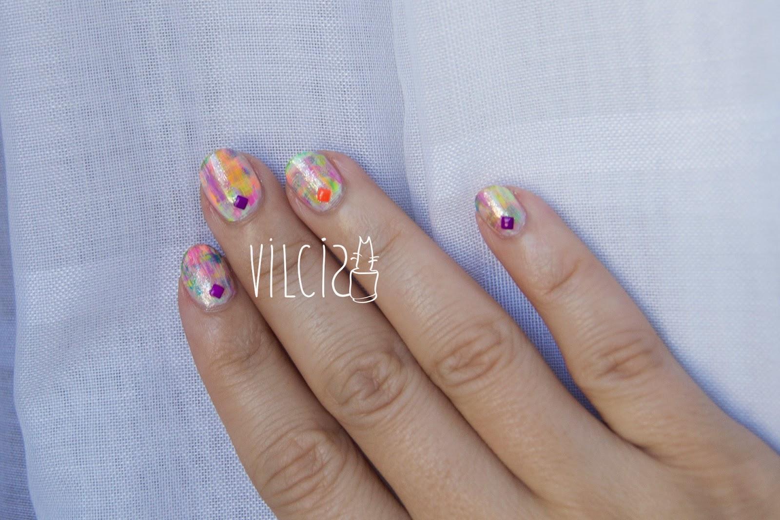 Diseño fácil uñas cortas neón tachuelas diseño a brochazos distressed nails vilcis